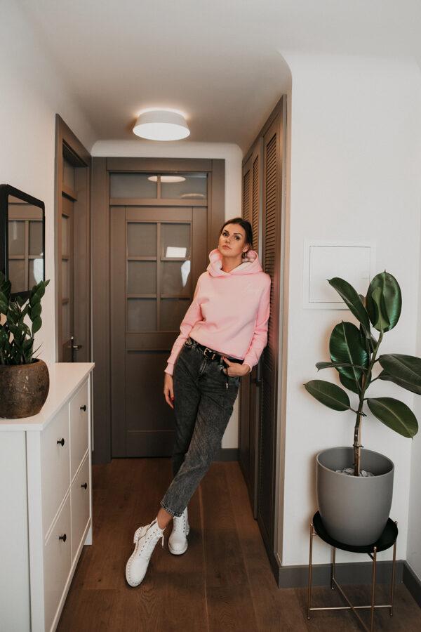 zefīra rozā kapuču džemperis
