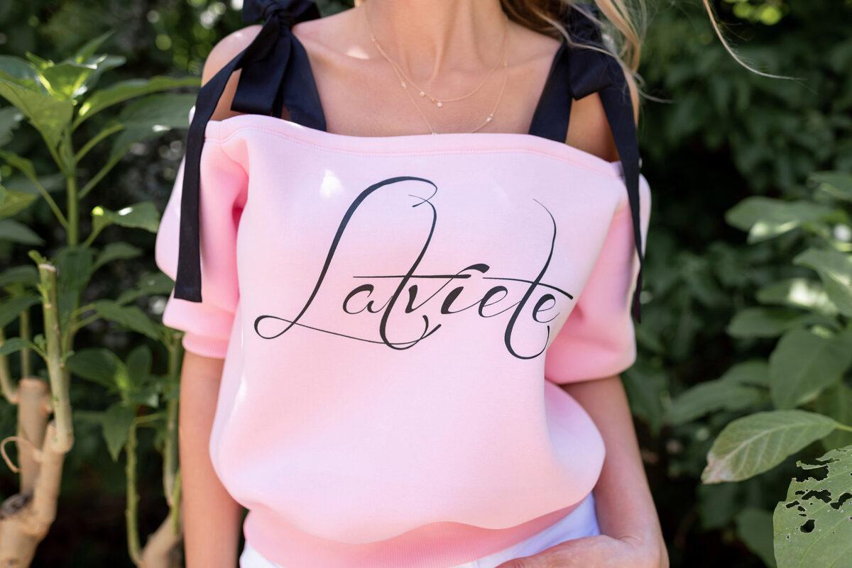rozā lenču džemperis
