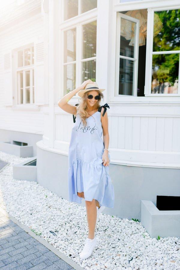 Asimetriskā kleita zila Latviete